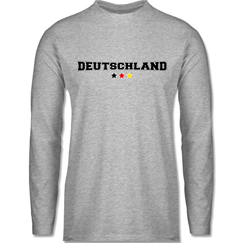 Shirtracer Fußball-WM 2018 - Russland - Deutschland College Schriftzug - Herren Langarmshirt Grau Meliert