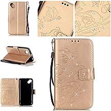 Guran® Funda de cuero PU para Wiko Sunset 2 Smartphone Función de Soporte con Ranura para Tarjetas Flip Case Cover de Mariposa con Cristal Artificial Brillante - Oro