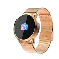 MXueei Smarte Uhren ZfgG Bluetooth Schrittzähler Sport 150 Tage Batterie Schlaf Anti-verlorene Aquarell Bildschirm Smart Wear Armband Perfekter Wohnassistent (Farbe : Golden Steel Watch Band)