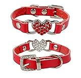 Dogs Kingdom Lovely Strass Herz Design echtes Leder Katzen/kleine Hunde Halsbänder 3Größen