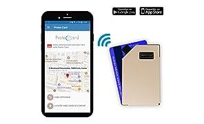 PROTEC CARD / Porte Carte Connecté en Aluminium / Blocage RFID - Paiement sans contact / Étui carte bancaire qui vous alerte en cas de vol, de perte ou d'oubli grâce à son application dédiée. Coloris Champagne Bubble.