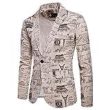 Sannysis Lässiger Blazer Herren Slim Fit Charm Männer Casual 1 Button Fit Anzug Blazer Mantel Jacke Gedruckt Tops Suits