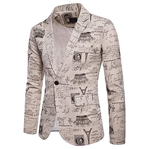 fiosoji Männer Casual One Button Fit Anzug Blazer Mantel Jacke Paris Iron Print Tops - Paris Tun In Zu Was