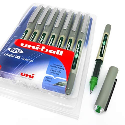 Uni-Ball EYE UB-157 - Penna a sfera con punta da 0,7 mm, inchiostro verde, confezione da 8