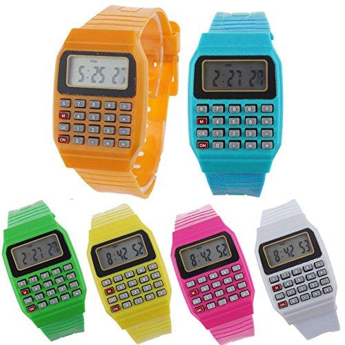 Set mit 24 Uhren Taschenrechner, Kinderuhr - lustige Uhren für Kinder und Mädchen. Uhren für Kommunion