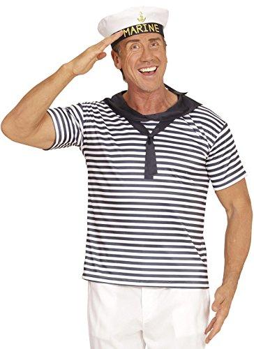 (Widmann 03122 Erwachsenenkostüm Marine Set, Shirt und Hut)
