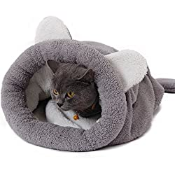 PAWZ Road Cat Sleeping Bag Fleece Soft Self Warming Camas Lavables para Gatos Snuggle Sack Matket Kitty Sack Adecuado para Gato y Cachorro Gris 60 * 58cm