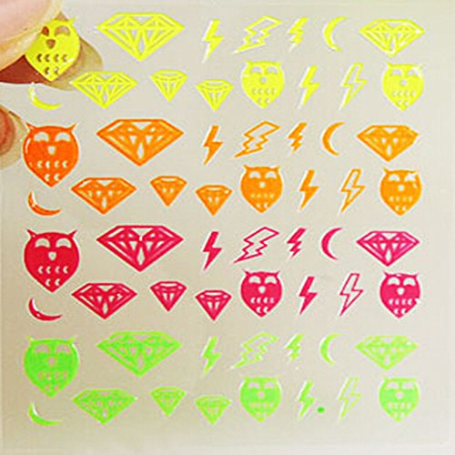 EVTECH (TM) 5 PCS Nail Nail Sticker outil 3D Art Sticker Craved Belle Nail Sticker Tatoo - graffitis colorés