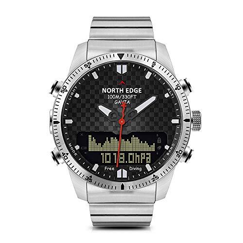 Lixada Mann-Sport-Digital-Analoguhr-Taucheruhr-volle Stahlgeschäfts-Armbanduhr-Höhenmesser-Kompass 100m wasserdicht