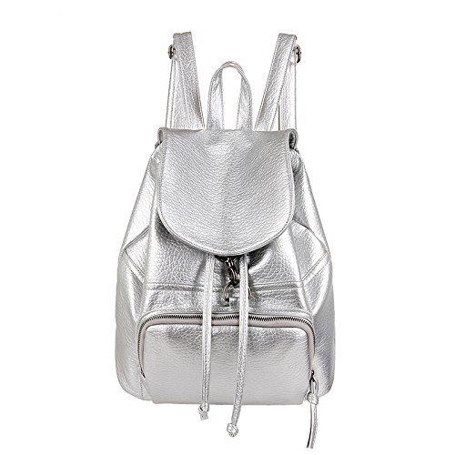 witery Premium PU Leder Casual Damen Rucksack Pretty Fashion Schultasche Geldbörse Handtaschen, silber (Silber) - CLOA0026-03