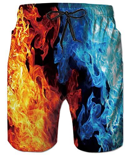 ALISISTER Badehose Herren Jungen 3D Feuer Lustige Schnell Trocknend Badeshorts Sommer Hawaii Surfer Running Schwimmhose Shorts XXL