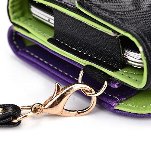 Kroo d'embrayage portefeuille avec dragonne et sangle bandoulière pour Lenovo VIBE Z2Pro Rouge/vert Black and Purple
