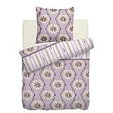 Linon Premium Bettwäsche 100% Baumwolle IMELDA Lila - 1 x 135x200 cm + 1 x 80x80 cm - Renforce Reißverschluss - Design wählbar - Bett-Wäsche Garnitur