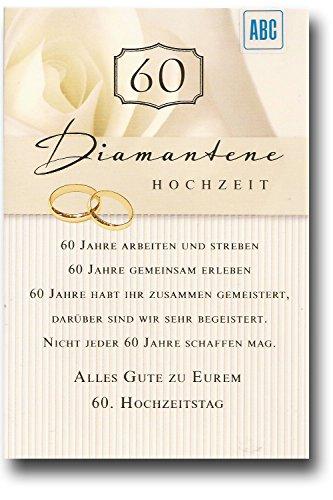 Glückwunschkarte Zur Diamantenen Hochzeit Alles Gute zu eurem 60. Hochzeitstag | ALL581
