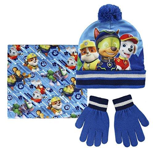 Preisvergleich Produktbild Paw Patrol 2200002441 Chase,  Marshall,  Rubble,  Kinder-Winter-Set,  beinhaltet Beanie Bobble-Mütze / Handschuhe und Schlauchschal,  eine Größe