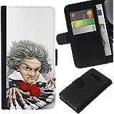 Supergiant (Piano Player Keys Mozart Classical Caricature) Dibujo PU billetera de cuero Funda Case Caso de la piel de la bolsa protectora Para Samsung Galaxy Core Prime / SM-G360