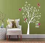 Arbre Blanc Sticker mural avec rose vif Oiseaux et cage à oiseaux Stickers muraux DIY Vinyle papier peint Stickers muraux pour salon Chambre à coucher