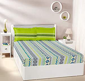 Amazon Brand - Solimo Fuzzy Strings 144 TC 100% Cotton Double Bedsheet with 2 Pillow Covers, Green
