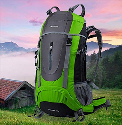 Reise-Outdoor-Rucksack wandern Tasche Schulter multifunktionale wasserdicht 65L Männer und Frauen geschickt Regenschutz green 65 liters