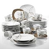 'Nikita' Veweet Servizio da tavola in porcellana 60 pezzi servizio combinato tazze da caffè 175ml, piattino, piatti da dessert, piatti da portata e piatti a base di zuppa per 12 persone