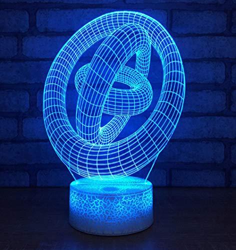 ZJFHL Großhandel Abstrakte Ring 3d Lampe Led Kreative Energiesparende Desktop Usb Nachtlicht Remote Touch schalter 7 farbwechsel 3d Licht