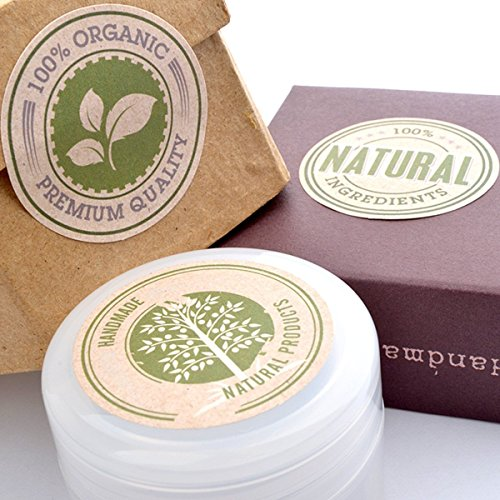 Wakehurst Natural Organic Gift Stickers Labels - for Cosmetic Containers, Handmade Products, 5sheets 30pcs