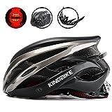 KINGBIKE Erwachsene Fahrradhelm für Herren Damen Frauen Sicherheit Hinten LED-Licht Helm Regenschutz Leicht (Schwarz & Titan)