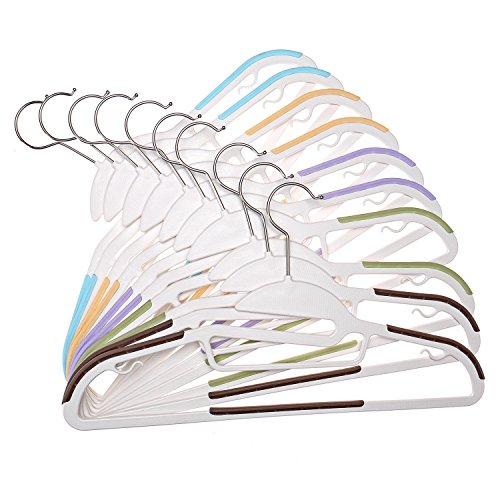 comprare on line Qisiewell Plastica Antiscivolo Salvaspazio Grucce 20 Colori Anti-deformazione Rotazione di 360 ‹ Versatile per Giacche Camicie Sciarpe Cravatta Pantaloni Bambini Donna Adulta prezzo