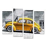 Bild Bilder auf Leinwand VW Käfer Vintage Beetle Gelb vor