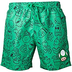 Nintendo - Mario Swims Hort Green with Allover Print and Small Mushroom Head - Maat S