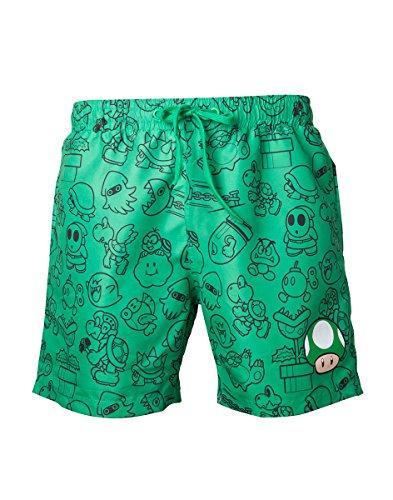 Nintendo-Mario Swims Hort Green with Allover Print and Small Mushroom Head-Maat S