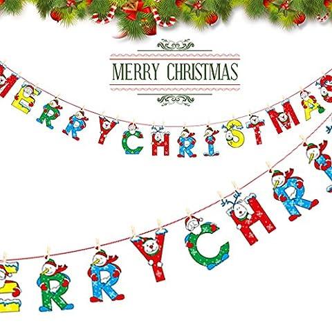 A-szcxtop 'Merry Christmas' lettres de dessin animé avec des drapeaux à suspendre drapeaux fanions Home Party fenêtre Arbre Décoration murale bannières