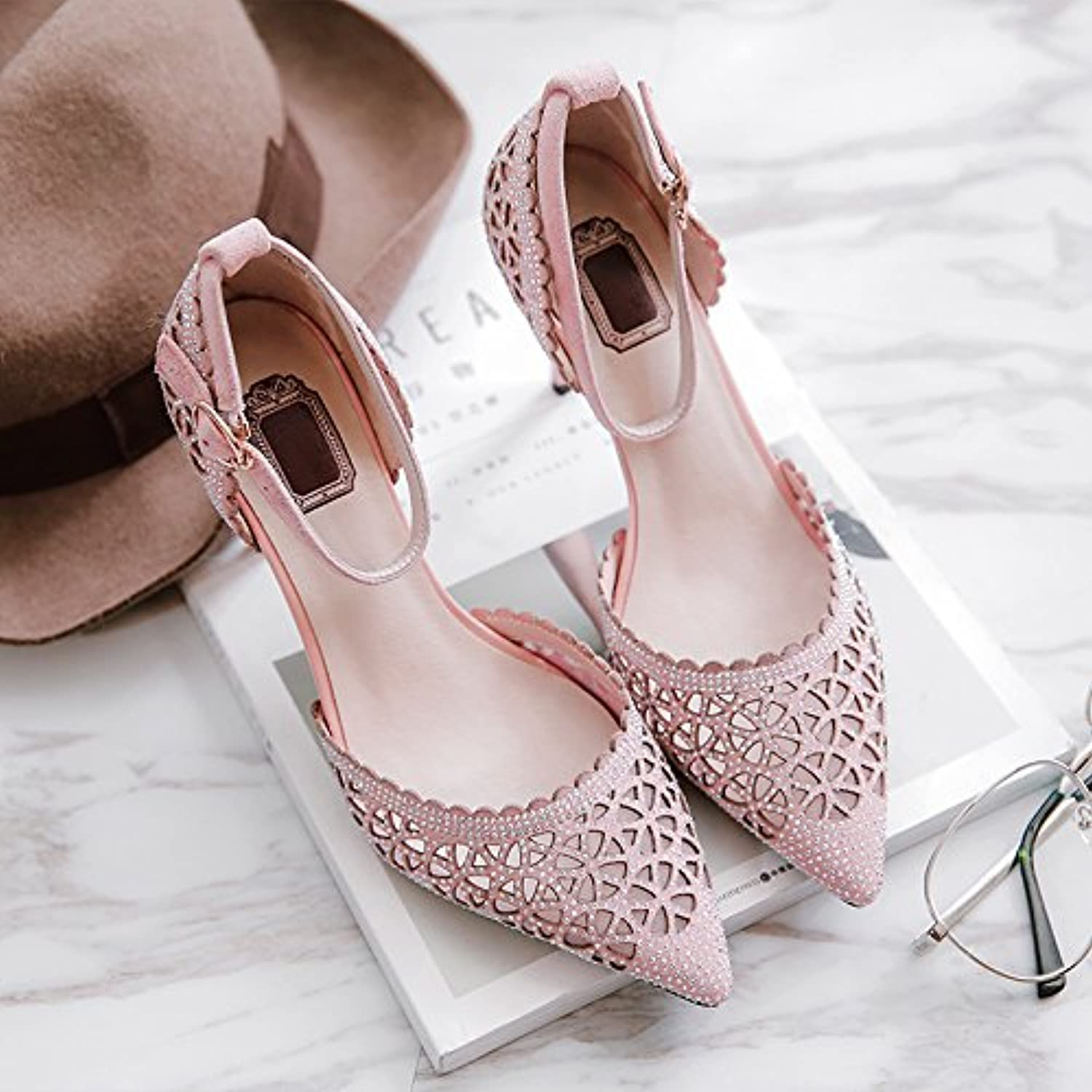 SHOESHAOGE One Word Buckle High Heels Female Fall Hollow Rhinestone Fine With Baotou Sandals Woman Sandalen Fürö