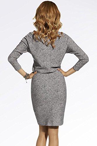 Ennywear 220007 Robe De Femmes Mi-Longeur Deux Couleurs Manches Longues Col Officier Style Classique – Fabriqué En UE rose-noir