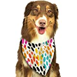 Hipiyoled Pet Bandanas Watercolor Animal Print Adjustbable Collars Pet Bandana Bibs for Puppy Cats