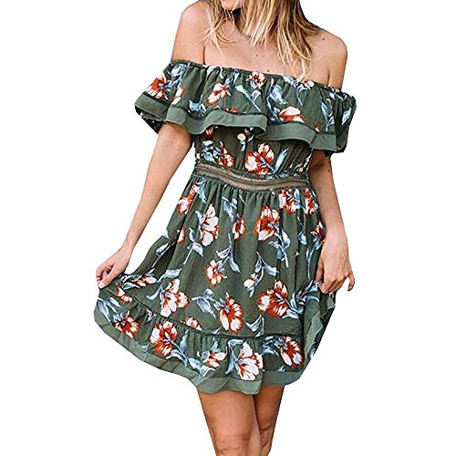 Go First Neues Kleid Langer Rock Damen Sommer Lose Plus Size Schulterfrei Boho Beach Langes Maxikleid (Color : Armeegrün, Size : Medium)