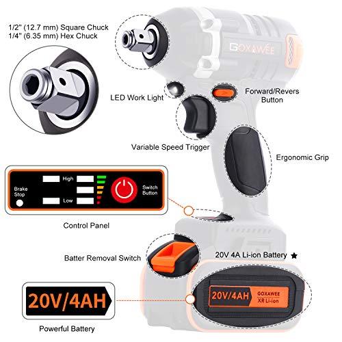 GOXAWEE Akku Schlagschrauber 20 Volt / 4 Ah Akku, max. 300 Nm, bürstenlos, mit Werkzeugkoffer - 2