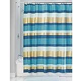 InterDesign Geometric Poly rideau de baignoire moderne, rideau de douche en polyester, rideau de bain avec motif géométrique, bleu-vert/doré