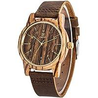 Uwood Zebra Legno Guarda fascia del cuoio genuino cinturino in pelle vintage retrò legno Guarda