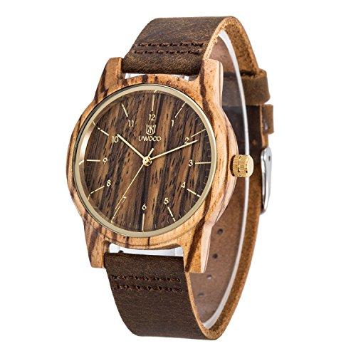 Holzuhr UWOOD Zebra Holz Armbanduhr Echter Lederband Vintage Retro Holz Armbanduhr Leder Band …