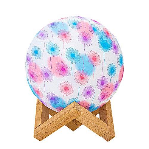 Tiscen Mondlicht 3D Mondlampe LED Mondlicht Nachtlicht mit Dock, 3 Farben, USB wiederaufladbar, Helligkeit dimmbar für Weihnachten Halloween Kreative Dekoration Zuhause Löwenzahn
