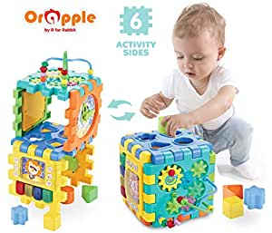 Orapple Little Master Activity Cube Kids Multipurpose Toys for 1, 2, 3, 4 Years Old (Multi Color)