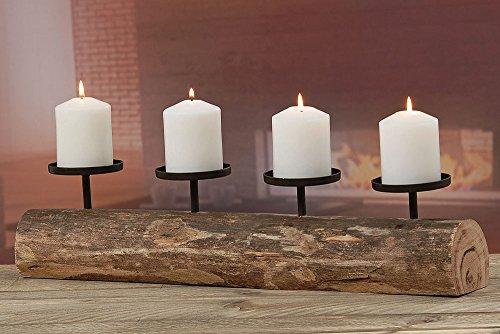 Kerzenleuchter rustikal Alpenhütte Shabby Landhaus Design Tempe 4er L51cm Material: Eukalyptus /lat.