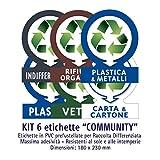 Etichette autoadesive per raccolta rifiuti - KIT COMMUNITY (GRANDE)- 6 etichette assortite 18x23cm