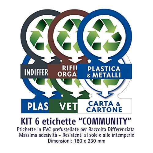 Galleria fotografica Etichette autoadesive per raccolta rifiuti - KIT COMMUNITY (GRANDE)- 6 etichette assortite 18x23cm