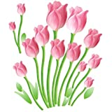 SYGA Wall Sticker Pink Tulips Flowers Home Decal Wall Vinyl Living Room Bedroom PVC Art Picture Murals Waterproof DIY Stick For Adults Teems Kids Nursery Baby(Pink)