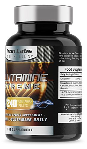 51CbxerWaxL - Glutamine Xtreme   L-Glutamine 500mg x 240 Tablets   Highest Quality GLUTAMINE - Sports Supplement   240 Vegetarian Tablets Manufacturer: Iron Labs Nutrition