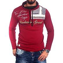 Stylish Hombre Cuello Manga Larga Camiseta de polo de Negro/Blanco/Gris BB 693