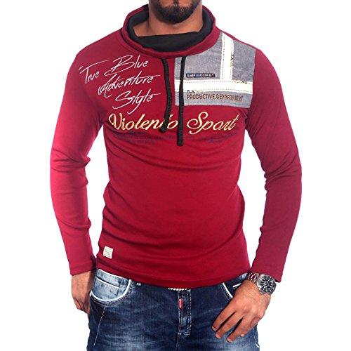 Stylish Herren Schalkragen Longsleeve T-Shirt Poloshirt Schwarz/Weiß/Grau BB-693 Rot