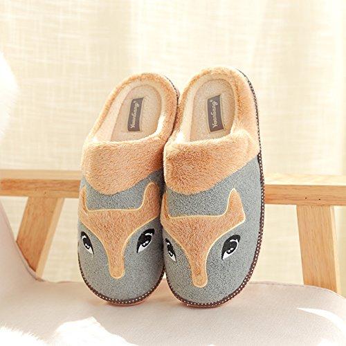DogHaccd pantofole,Inverno pantofole metà femmina con thick Cartoon carino coppie home anti-slip caldo cotone pantofole Grigio4